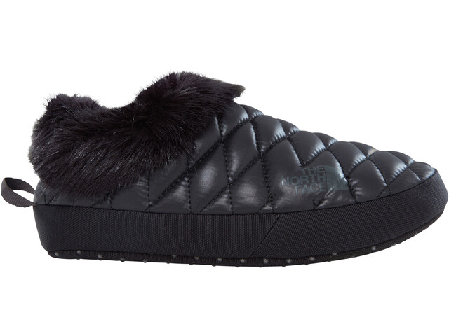 The North Face ThermoBall Tent Mule Faux Fur IV Shoes Women Shiny Black/Beluga Grey